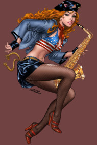Cool Saxophone Playing Redhead Pinup