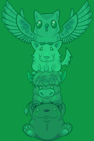 Cute Green Totem Pole