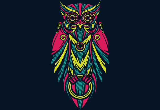 Neon Metal Owl  Artwork