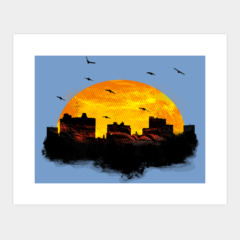 Birds Flying Over City Skyline - Sunset in the City
