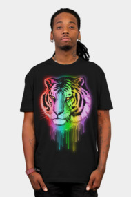 Tiger Neon Dripping Rainbow Colors
