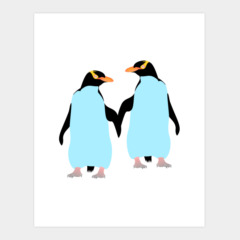 Gay Pride Penguins Holding Hands