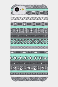 Turquoise Mint Green Teal Aztec Pattern