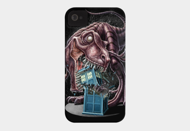 T-Rex Vs The Tardis Phone Case - Design By Humans