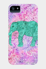 Teal Tribal Paisley Elephant Purple Henna Pat