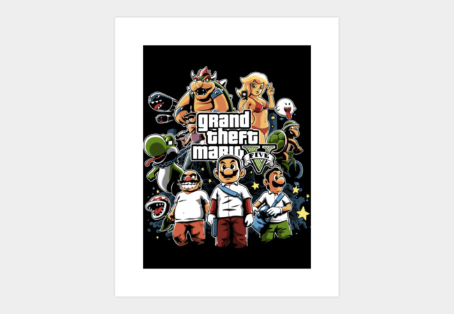 Grand Theft Mario Art Print - Design By Humans