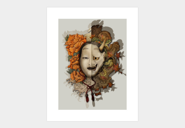 ying and yang noh mask Art Print - Design By Humans