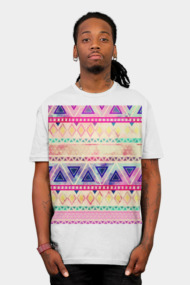 Purple Pink Watercolor Aztec Andes Tribal Pattern