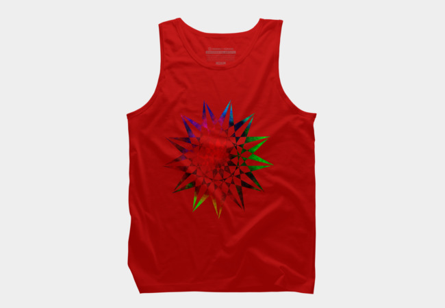 Trippy Star - Colorful Geometric Abstract Vector Star Men's Tank Top