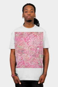 Girly Pink Tribal Abstract Floral Paisley Sketch