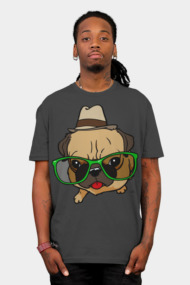 Cartoon Hipster pug dog shirt