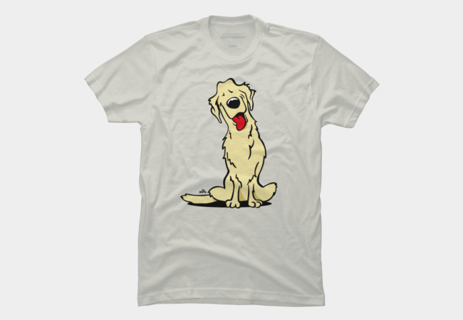 Cartoon golden retriever dog Men's T-Shirt